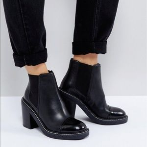 ASOS ENTAIL Premium Leather Heeled Chelsea Boots